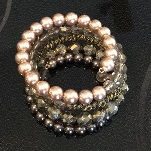 Vintage Beaded Coil Faux Pearl Bracelet